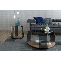 Photos 2: Tonin Casa CHAKRA 6876 Table in glass and wood l. 46 x 42