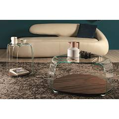 Photos 3: Tonin Casa CHAKRA 6876 Table in glass and wood l. 46 x 42