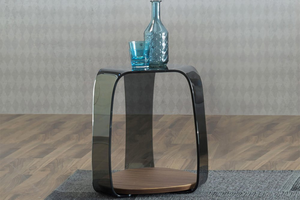 Photos 1: Tonin Casa CHAKRA 6876 Table in glass and wood l. 46 x 42