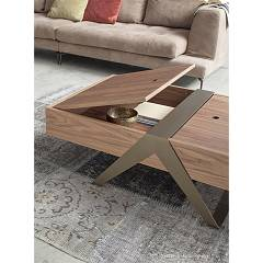Photos 2: Tonin Casa MATRIOSKA 6278 Table in metal and wood l. 120 x 36 with container
