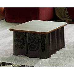 Tonin Casa Drape 6020 Table in glass and wood l. 47 x 47