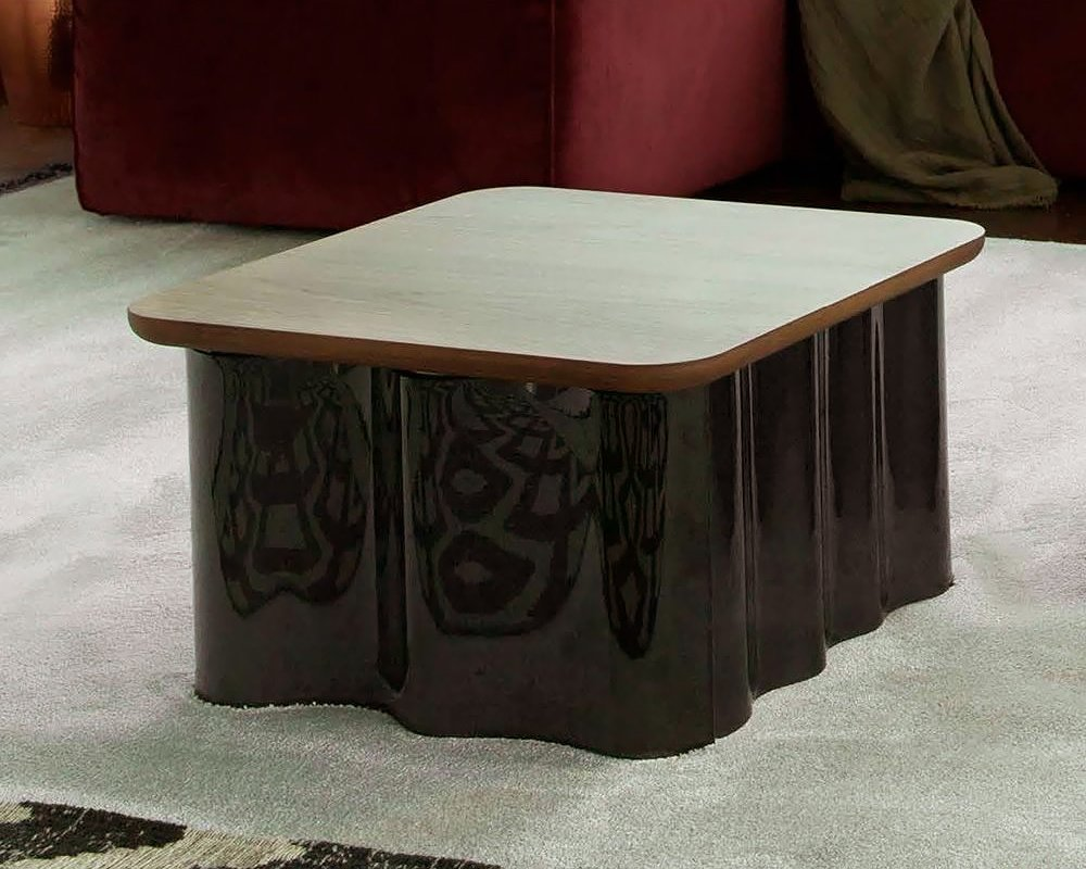 Photos 1: Tonin Casa DRAPE 6020 Table in glass and wood l. 47 x 47