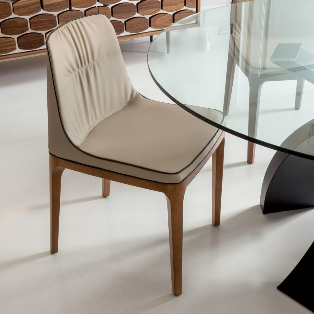 Sedie Design Legno E Pelle.Tonin Casa Mivida 7212 Chair In Wood And Eco Leather Leather