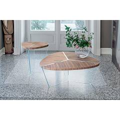 Tonin Casa Aida 6038 Table in glass and wood l. 93 x 90