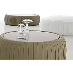 Tonin Casa Plissè 7336a Covered round coffee table d. 84