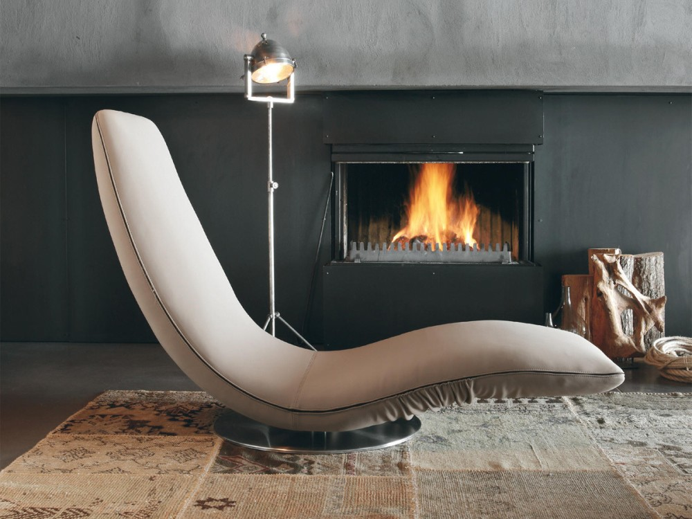 Photos 1: Tonin Casa RICCIOLO 7865 Chaise longue transformable in leather / leather / fabric