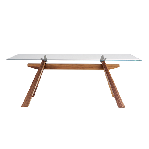 Midj Zeus Fixed Or Extendable Table With Wooden Frame Metal And Glass Top Glass Ceramic Wood Vieffetrade